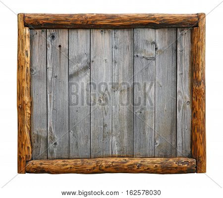 Old Vintage Wooden Planks With Log Border Frame