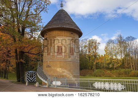 ST. PETERSBURG, RUSSIA - October 07: Pil tower with spiral staircase in Pavlovsk park, Pavlovsk, suburb of Saint Petersburg, Russia on October 07, 2016