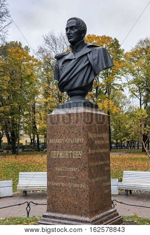 ST. PETERSBURG, RUSSIA - October 10: monument to Mikhail Lermontov (russian romantic writer, poet) in front of the Admiralty building, Saint Petersburg, Russia 10, 2016