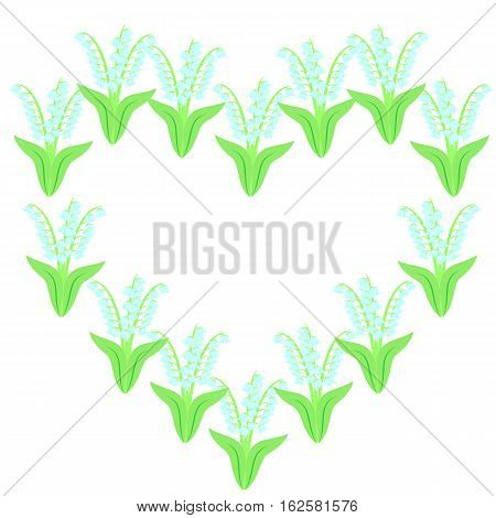 card or invitation design with decorative heart of lilies of the valley, isolated on white background