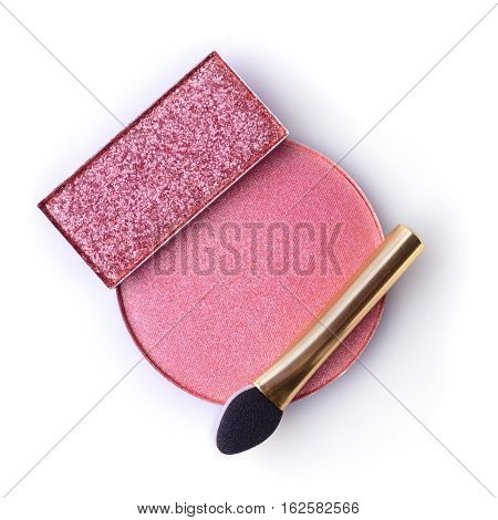 Blush Or Face Powder And Pink Eyeshadow With Applicator