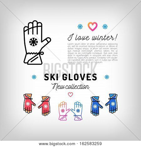 Ski gloves thin line icons, winter sports mittens. Gloves for skiers and snowboarders. Trendy banner, flyer for a sports shop, gloves advertisement. Vector illustration, isolated symbols