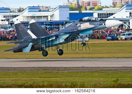 Zhukovskiy,Moscow Region, Russia - August 30,2015: Su-30SM is taking off.