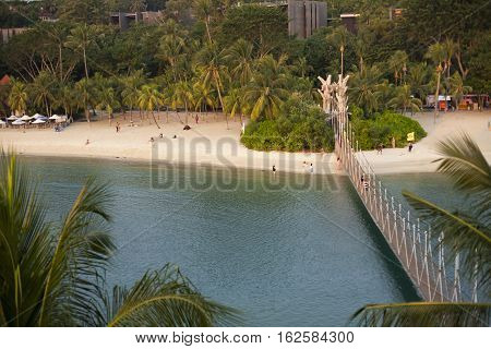 Tropical beach with palms in sentosa, Singapore