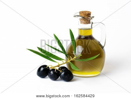Fresh Organic Olive Oil with bunch of olives and greenery on a isolated on a white background