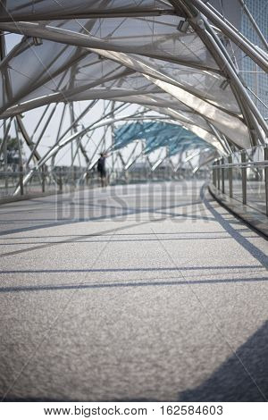 Modern transperent architecture structure background with metal and glass