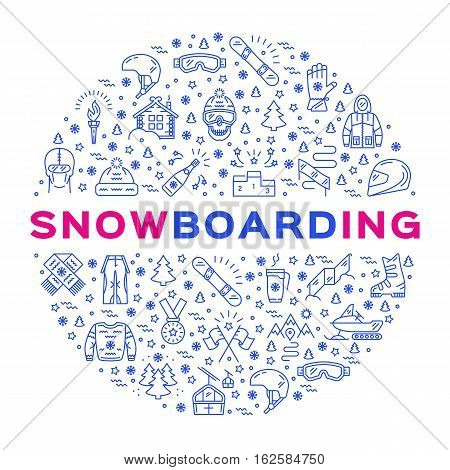 Vector snowboarding icon, outline snowboard logo, infographics. Isolated symbols of winter sports clothing, sportswear. Snowboarding corporate identity, Sport branding thin line art design