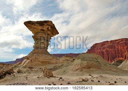 Long shot of the stone formation el Hongo in the nature reserve Ischigualasto also called Valle de la Luna in the area San Juan in Argentina South America