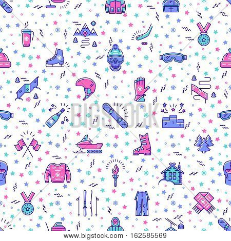 Winter sport seamless pattern memphis style. Winter recreation and fun, ski, snowboarding, ice skating, winter clothes and sportswear, winter landscape outline symbols. Trendy vector background