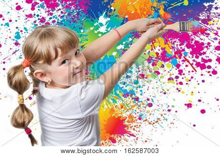 funny little child painted on the wall