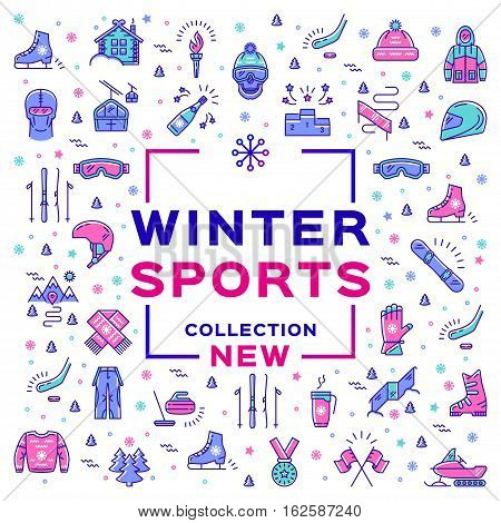 Winter sports collection, sport collage. Branding of sports equipment and sportswear. Cover boardshop banner of extreme winter sports. Minimal thin line art design, Vector illustration