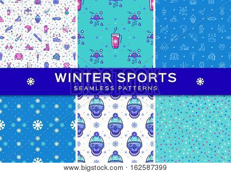 Set winter sport seamless patterns. Winter recreation and fun, ski, snowboard, snowboarding, ice skating, clothes, winter landscape outline symbols. Minimal design, Vector thin line art icons