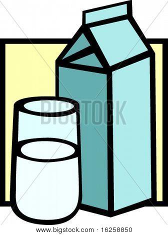 milk carton and glass
