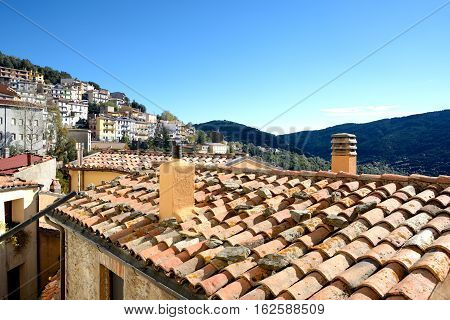 Sardinia. Village of Seui.view of little village in central Sardinia