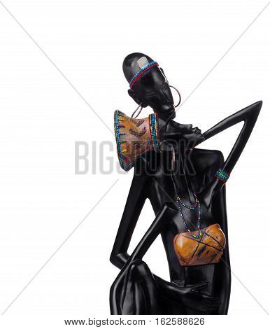 Statuette of african couple.Girl and man.Love.African love.Closeup
