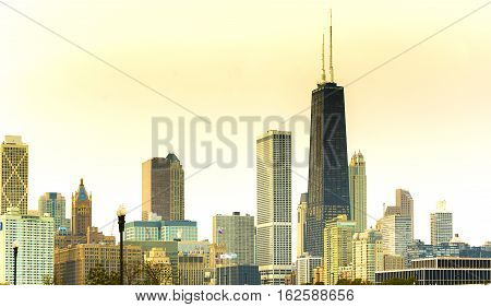 Chicago downtown skyline. Navy Pier view point