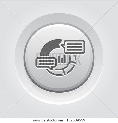 Analytics Icon. Business and Finance. Isolated Illustration. Circle Diagram with description pop-up messages. Grey Button Design.