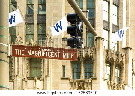 The Magnificent mile sign in Chicago Illinois