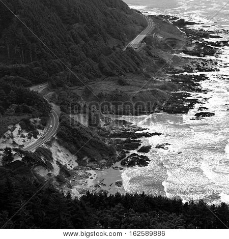 Oregon's coastal highway 101 winds along the shores of the Pacific Ocean on a fall day.