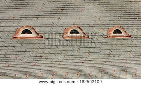 Brand new slate roof with copper trim.