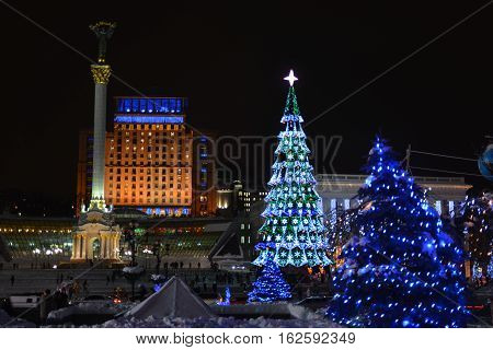 Decoration and illumination of Maidan Nezalezhnosti square (Kiev) during winter holidays.