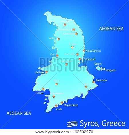 Island Of Syros In Greece Map Illustration In Colorful