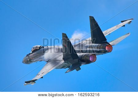 Zhukovskiy,Moscow Region, Russia - August 30,2015: Su-35 performing aerobatics.