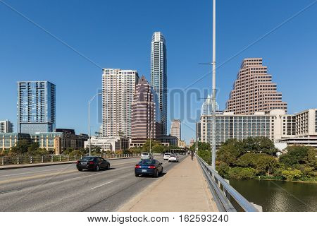 View of the the downtown skyline in Austin Texas with Capitol Building in the distance