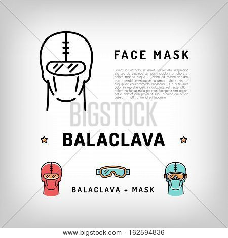 Vector balaclava isolated icon. Winter sport face mask, ski and snowboard equipment, sportswear. Robber mask, burglar mask. Black and color thin line icons. Vector illustration