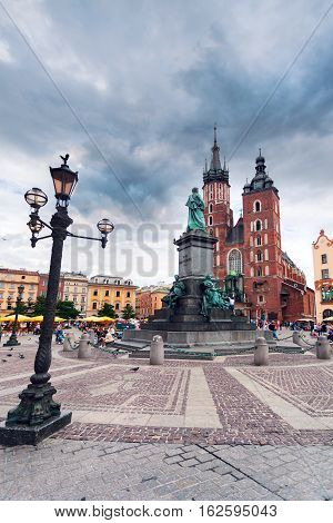 KRAKOW, POLAND - JULY 14, 2016: Church of St. Mary in the main Market Square. Basilica Mariacka, Krakow Poland