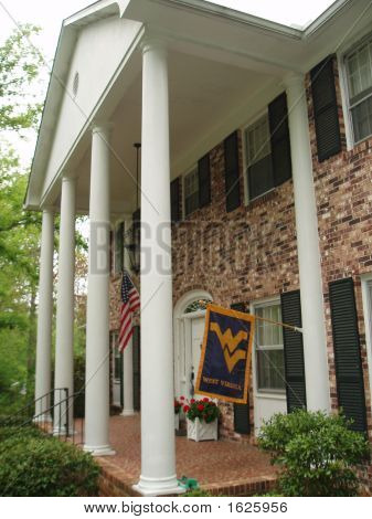 Colonnade With Wvu Flag