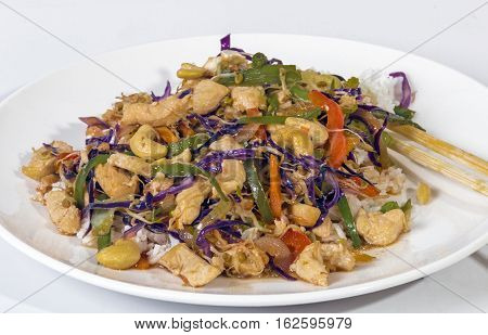 Studio Shot Of Stir Fried Chicken Chop Suey