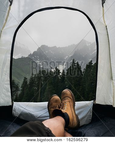Tent lookout on a Camp in the mountains outdoor camping