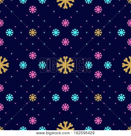 Vector snowflake seamless pattern. Winter Christmas repeat snowflake background, Textile pattern sportswear and winter clothing. Trendy geometric style, thin line snowflakes icons
