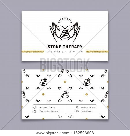 Vector stone therapy business card template. Stone massage, beauty spa, relax and natural medicine thin line symbols. Business card spa studio. Trendy minimal outline design, Vector illustration