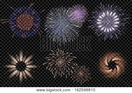 Set Of Isolated Vector Fireworks On Transparent Background