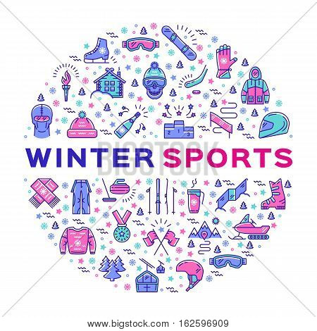 Winter sports icons. Collage of sports symbols in a circle. Trendy infographics for a sporting event, contest, sport shop, sale tag, marketing. Colorful thin line icons set, Vector illustration