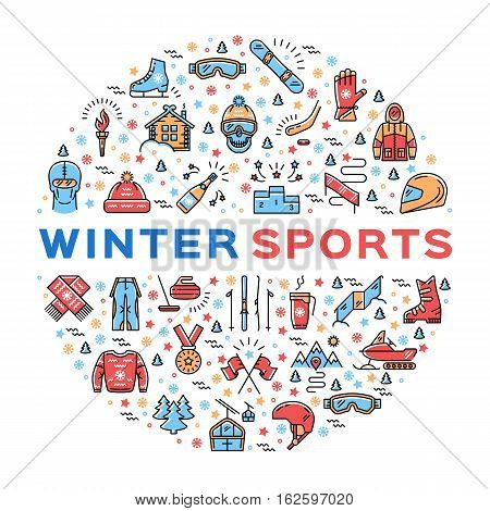 Winter sports collage of icons in a circle. Trendy infographics for a sporting event, contest, sport shop, sale tag, marketing. Colorful thin line icons set, Vector illustration