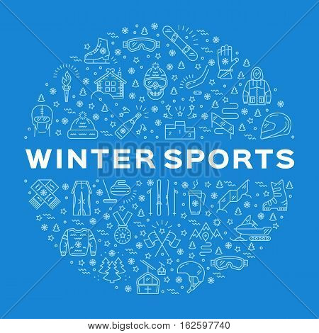 Winter sports icons. Collage of sports symbols in a circle. Trendy infographics for a sporting event, contest, sport shop, sale tag, marketing. Vector collection monochrome icons