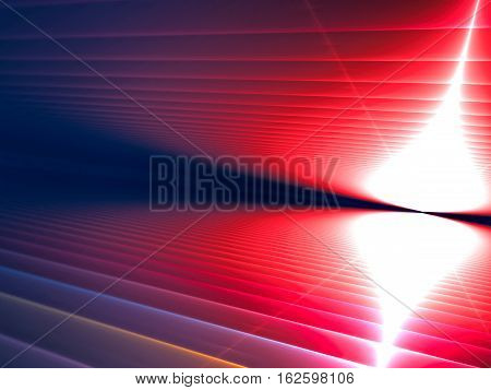Perspective background - abstract computer-generated image. Fractal geometry: striped surface with perspective, horizon and light effects. For covers, web design, posters.