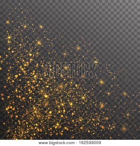Gold glitter sparkles on transparent background. Vector golden dust texture. Twinkling confetti shimmering star lights.