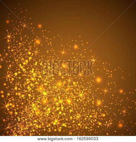 Gold glitter sparkles background. Vector golden dust texture. Twinkling confetti shimmering star lights.