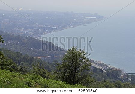 view of Adler district in the greater sochi from mountain Russia