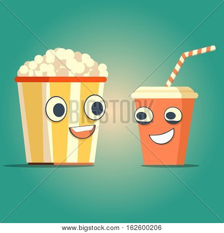 Popcorn and soda characters best friends. Vector flat cartoon illustration