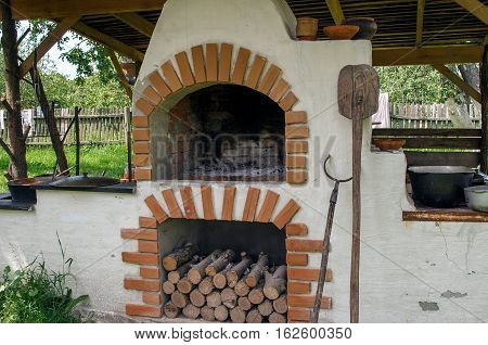 Old traditional ukrainian oven stove with open fire