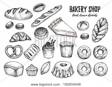 Hand drawn vector illustration - Set with sweet and dessert (croissant cupcakes pretzels donut cheesecake macaroon baguette bread pie). Design elements in sketch style. Perfect for menu cards blogs banners
