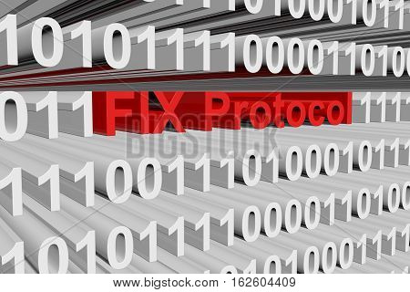 FIX Protocol in the form of binary code, 3D illustration
