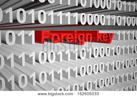 foreign key in a binary code 3D illustration