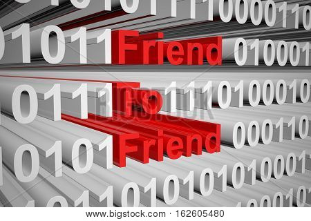 Friend to Friend in the form of binary code, 3D illustration