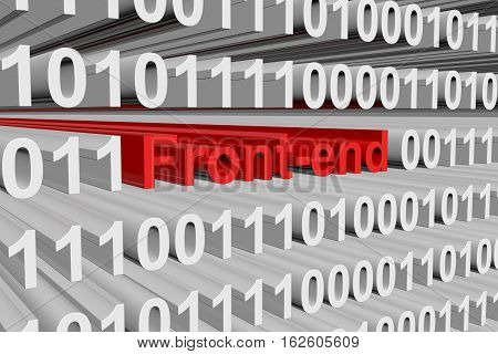 Front-end in the form of binary code, 3D illustration